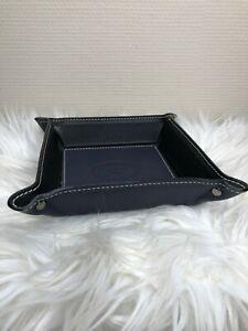 Leder Made in Italy Taschenleerer dunkelblau - schwarz Lederschale Ablageschale