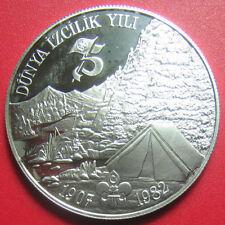 """1982-1983 TURKEY BOYSCOUTS 3000 LIRA SILVER PROOF """"LONDON TOWER"""" BOY SCOUT c#2"""
