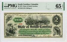1873 Cr.14 $2 The State of SOUTH CAROLINA Note - PMG Gem 65 EPQ