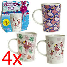 SET OF 4 FLAMINGO MUG STONEWARE KITCHEN DRINKING COFFEE TEA CUP DESIGN SLEEVE