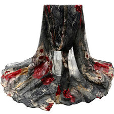 Flower Womens Scarf Voile Stole Scarves Long Neck Wraps Shawl Scarf