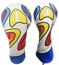 Majek Retro Golf #1 & 3 Driver & Wood Headcover Psychedelic Design Vintage Style