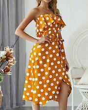 Women's Sexy Wrap Ruffle Polka Dot Strappy Dresses Ladies Summer Holiday Dress