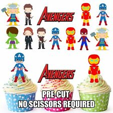PRE-CUT Superhero Avengers Edible Cup Cake Toppers Party Decoration (Pack of 12)