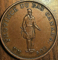 1837 LOWER CANADA HALF PENNY TOKEN - Banque du peuple - Excellent example!