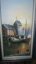 Max Savy Original Oil Painting on Canvas 12 x 24  Double Framed Fishing Boats