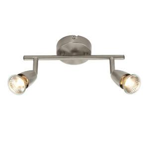 Saxby Amalfi Twin Head GU10 Spotlight Bar Swivel Ceiling Mounted Dimmable Light