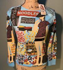 CUSTO Barcelona Sz 1 US XS Womens Graphic Beaded Long Sleeve Shirt Noodles NWT