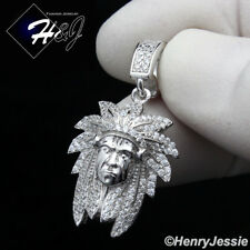 MEN 925 STERLING SILVER LAB DIAMOND ICED OUT BLING AMERICAN INDIAN PENDANT*SP186