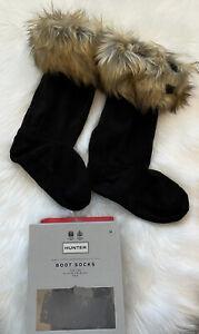 Hunter Original Tall Welly Boot Socks Faux Fur Cuff in Tawny Black M 5 6 7 NEW