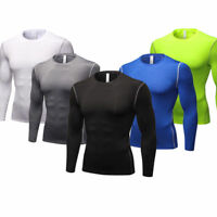 Mens Compression Wear Gym Running Shirts Long Sleeve Dri fit Quick-dry Tops Slim