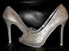 Tamaño 5 38 Plata Oro Brillo Efecto Diamante Zapatos De Novia Ocasión Muy Raro BN