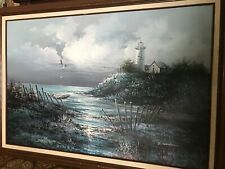 Large Original Lighthouse Oil Painting On Canvas