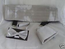 <TOP> Shiny SILVER Bow Tie + Cummerbund & Hankie Set>Over 50 Colours in our SHOP