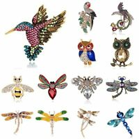 New Animal Pearl Bird Owl Dragonfly Bee Crystal Brooch Pin Women Costume Jewelry