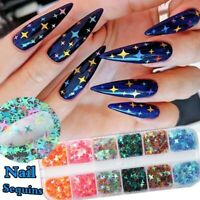 12Grid Nail Glitter Sequin Mixed Stars Leaf Round Flake Paillette Nail Art Decor