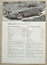 ALFA ROMEO 2600 SPRINT Car Sales Specification Leaflet Sept 1965-66