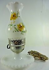 "Vintage GWTW Milk Glass Hobnob Lamp ""Gone with the Wind"" with metal floral decor"
