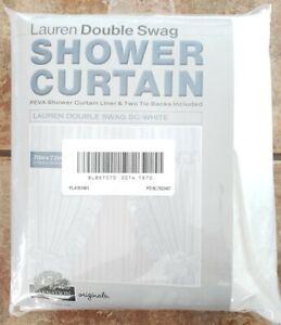 Carnation Home Lauren Double Swag Shower Curtain White