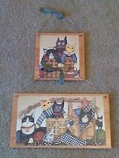 2 Cat Pictures Primitive Sitting Cats Wall Hanging Home Decor Rustic