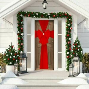 Large Red Christmas Door Bow Deluxe Festive Xmas Decoration Double Wrap Ribbon