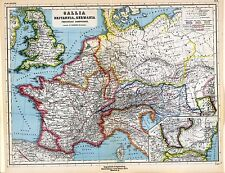 1903 old antique map ANCIENT WORLD Roman Empire GERMANY France Britain Gaul 11