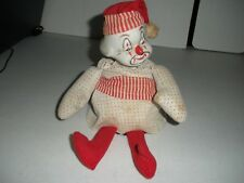 Sitting Vintage Musical Clown doll Ceramic Hand pained Face and cloth body