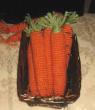 6 Hand Crochet CARROTS Pretend PLAY FOOD amigurumi FUN TOY Educational orange
