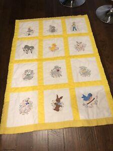 Handmade Gold And White Baby Quilt 40X 57 Animals
