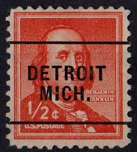 US 1955 Scott #1030 Benjamin Franklin DETROIT MICH Precancel 1/2 Cent STAMP