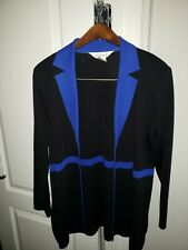 Auth Exclusively Misook Blue & Black Open Cardigan Size Large L@k