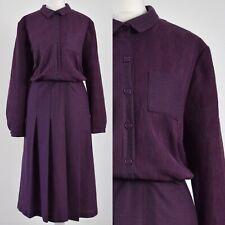 PURPLE TEXTURED 1960s VINTAGE PLEATED MOD SECRETARY DRESS 16