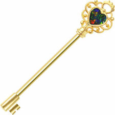 Industrial Barbell ear jewelry Key with Opalite gold i.p 14 gauge 38mm length