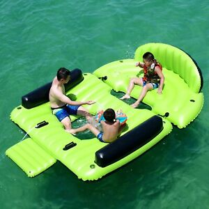 ALEKO Inflatable Floating 6 Prs Island Raft with Cup Holders Boarding Platform