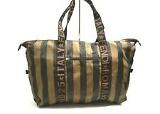 Fendi Roma Duffel Duffle Travel Gym Overnighter Bag Authentic Striped Good Cond