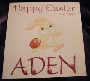 Personalised Girls Boys Kids Easter Card Bunny and Eggs Design Any Name
