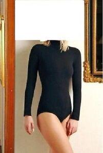 Ladies Turtle Neck Long Sleeve Cotton Bodysuit Size XS - 3XL