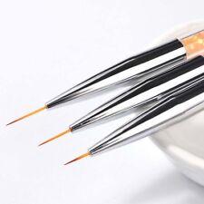 Set 3pcs Pinceau Brosse à Ongle Strass Decor Liner Stylo Manicure Nail Art Neuf