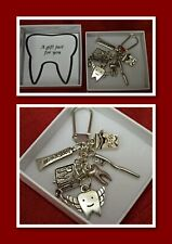 Dentist Tooth Fairy Key Charm Keepsake Gift Boxed teeth tooth brush paste Floss