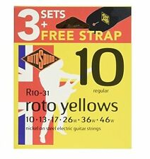 Rotosound R10 Roto Electric Guitar Strings 3 Sets Strap