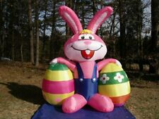 6' Pink Bunny with Eggs Lighted Airblown Easter Inflatable New