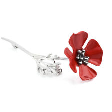Fashion Women Crystal Red Flower Banquet Badge Gold Brooch Jewelry Pin Gift