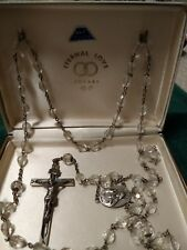 Vntge S&F Swift & Fisher Rosary Eternal Love Sterling Silver & Crystals Org Box