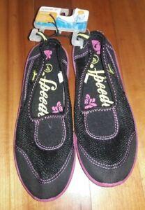🏖 Girl's Speedo Junior Water Shoes L 4/5 New Nwt Black Pink Mesh 4 5 Pool