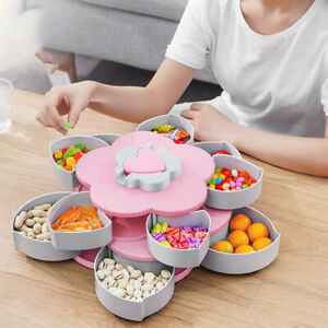 New Collection Double Layer Flower Shape Rotating Candy Box Dried Fruit Plate