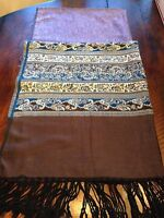 WOMEN'S SCARF, SHAWL WRAP PURPLE BROWN EMBELLISHED WITH FRINGE XL 80 X 28 NEW