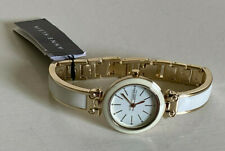 NEW! ANNE KLEIN AK WHITE DIAL GOLD WHITE BANGLE BRACELET WATCH AK/2478 $75 SALE
