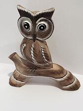 Eule  Ast aus Holz geschnitzt niedlich Handarbeit Unikat Deko Tierfigur Skulptur