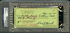1977 ED ROUSH Signed Check PSA Slabbed Signature 1919 Reds HOF MLB Legend AUTO