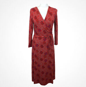 White Stuff Red Mock Wrap V Neck Tie Dress Below Knee 3/4 Sleeve Sz 12